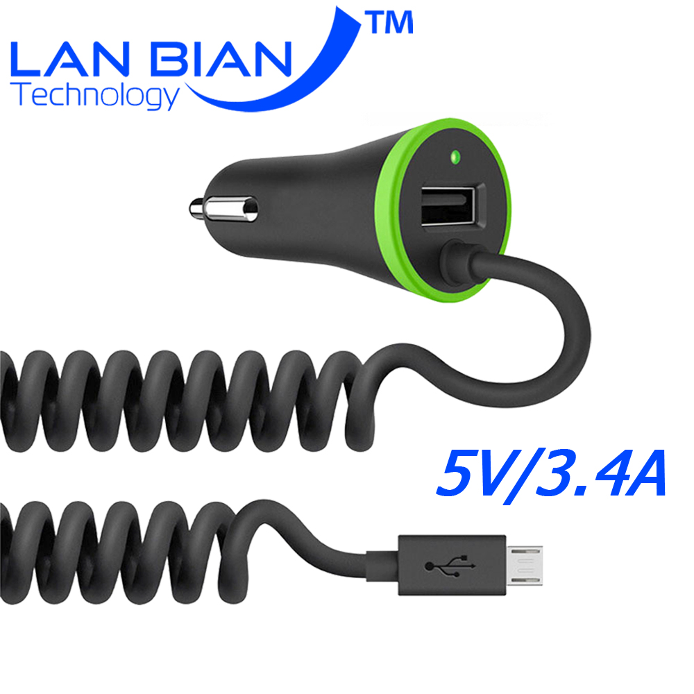 LANBIAN USB Car Charger Total 3 4A with Spring Shape Micro USB Cable Lighting Cable for