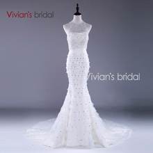 Vivian's Bridal Sexy Back Count Train Mermaid Wedding Dress Hot Sale High Neck Beaded Sleeveless Bridal Dress VB0028(China (Mainland))
