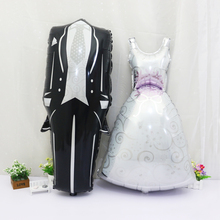 2pcs 57*118cm Groom Bride Wedding Dress Foil Balloon Marriage Decoration Balloon for Romantic Wedding Engagement layout(China (Mainland))