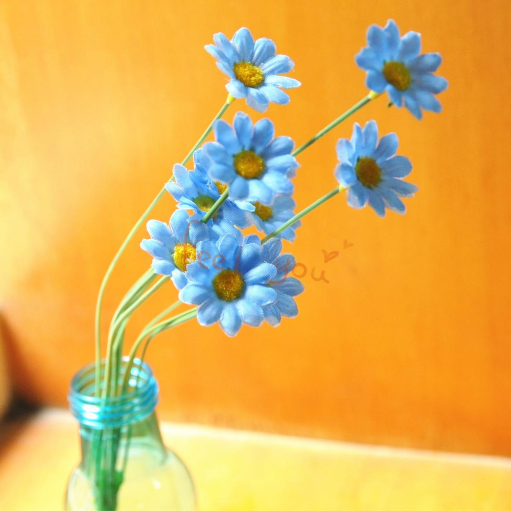 10 X Blue Sunflower Artificial Silk Flower Heads + Stem Craft Wedding Party Home Decor Gerbera Daisy Head Lot Wholesale(China (Mainland))