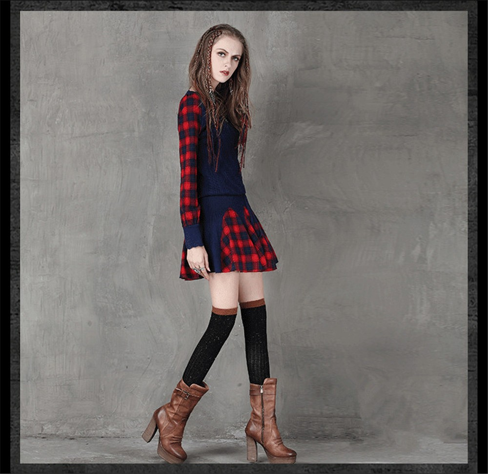 Vintage Wool WINTER DRESS 2016 Casual Knitting Long Sleeve Women Dress Plaid Sashes Patchwork Sweater Dress Woman O-neck Vestido (6)