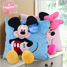 Big Discount 35cm*35cm Mickey Mouse and Minnie Plush Pillow Cartoon Mickey Mouse and Minnie Pillow Car Cushion Promotion(China (Mainland))