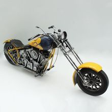 Wrought iron vintage car motorcycle collectibles fashion yellow Retro tin toys still home ornaments Christmas gift ideas(China (Mainland))