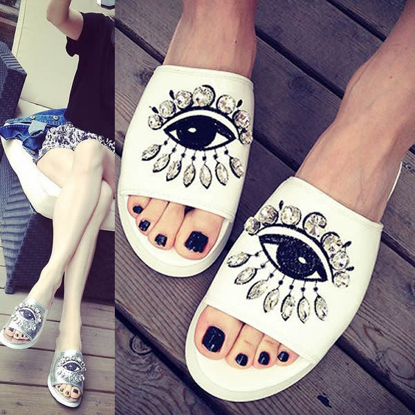 Customized Small Big Size 34 40 41 42 White Sliver Casual wild Slippers Diamond Eyes Pattern Design Women Sandals Free Shipping<br><br>Aliexpress