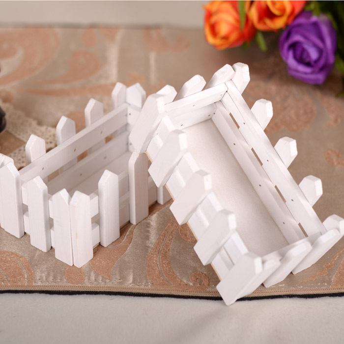 Home decoration accessories 16cm white Wooden fence flower vase wholesale vase for wedding decoration free shipping(China (Mainland))