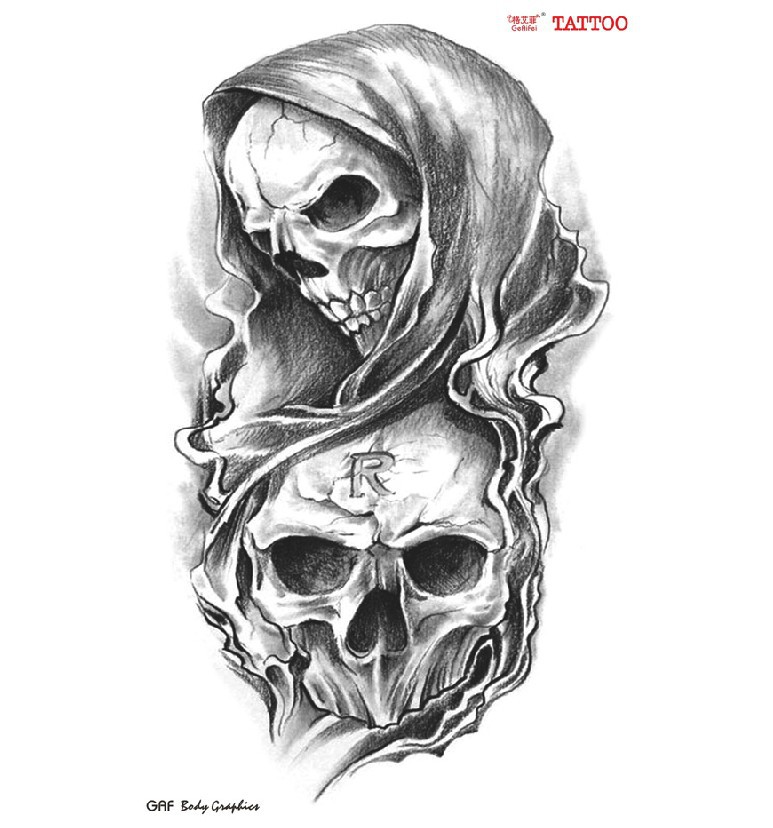 Double skulls R mark temporary tattoos cool Waterproof