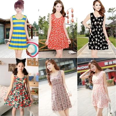 Free shipping 2014 Slim sweet summer sundress beautiful dress sleeveless vest bottoming dress(China (Mainland))