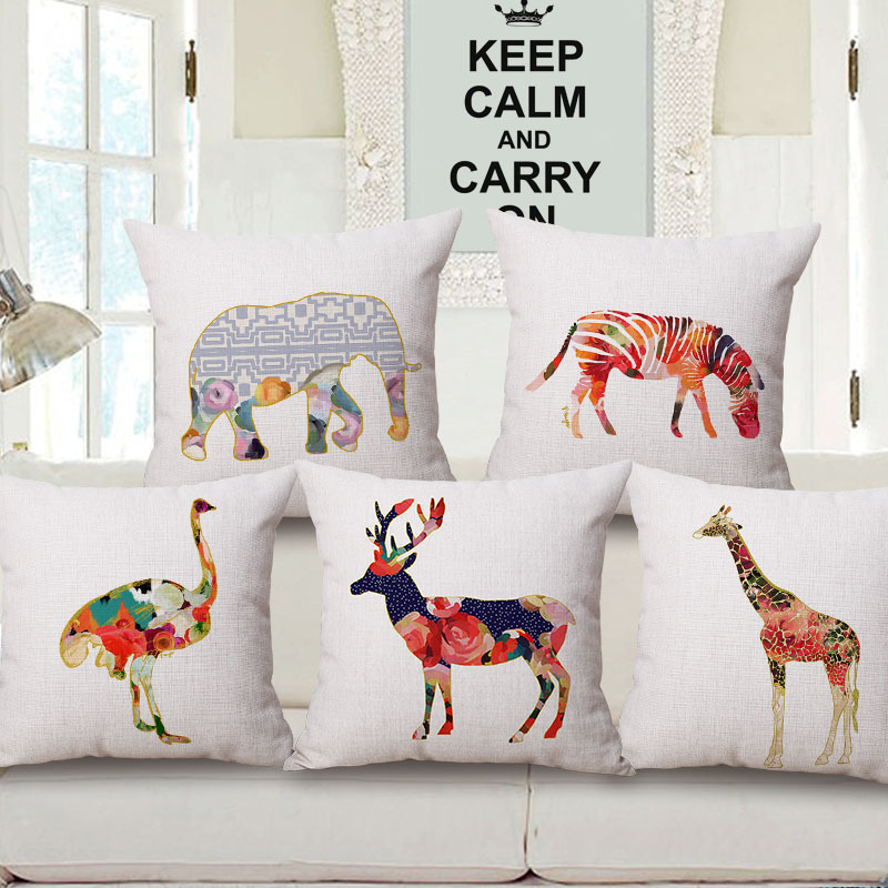 Colourful Giraffe Elephant Ostrich Zebra Deer Home Decor Sofa Car Seat Decorative Cushion Cover Pillow Case Capa Almofada(China (Mainland))