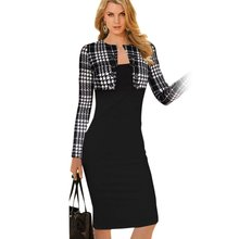 Winter Women Plaid font b Tartan b font Outwear Tops Bodycon Tube Pencil Midi Dress