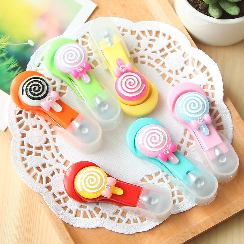 New Arrival!Nail Tools Cute Cartoon Lollipop Candy Color Nail Scissors Bow Portable Toenail Scissors(China (Mainland))