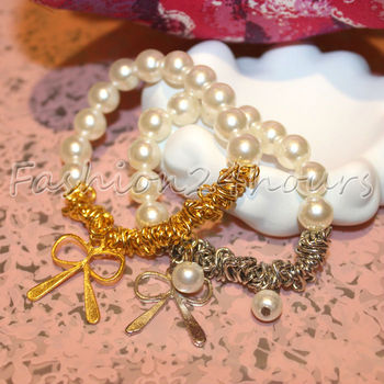 New Fashion Korean Style White Pearl Bangle Bracelet With Butterfly For Women Jewelry