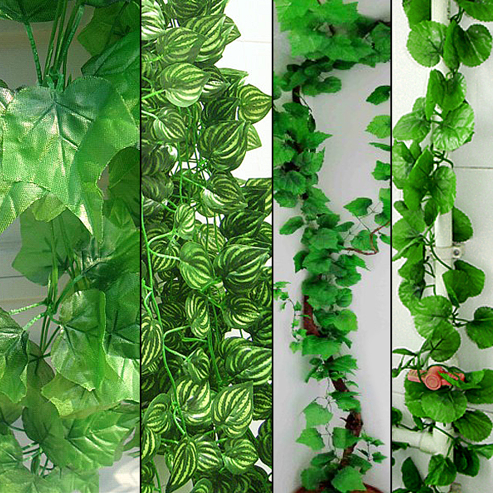 48x 2.3m Long DIY Artificial Plants Green Ivy Leaves Artificial Grape Vine Fake Foliage Leaves Home Wedding Fences Decoration(China (Mainland))