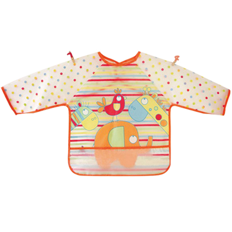 Free Shipping New Baby Toddler Coverall Bib Apron With Cute Animals And Waterproof Backing(China (Mainland))