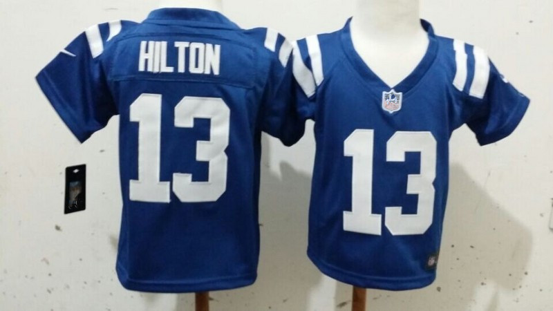 Colts #13 Hilton Infant baby toddler children preschool kids 2-7y Blue Football Jersey(China (Mainland))