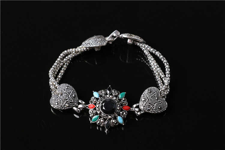 BA0012 Antique Black Heart Chain colorful sun flower women Retro Bracelets Fashion(China (Mainland))