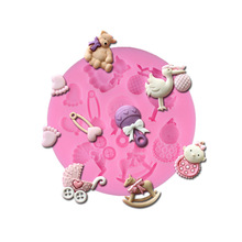 Cartoon baby animal silicone mold diy cake fondant baking cake mold cake decorating bakeware baking tools chocolate molds(China (Mainland))