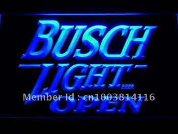 044-b Busch Light Beer OPEN Bar LED Neon Light Sign