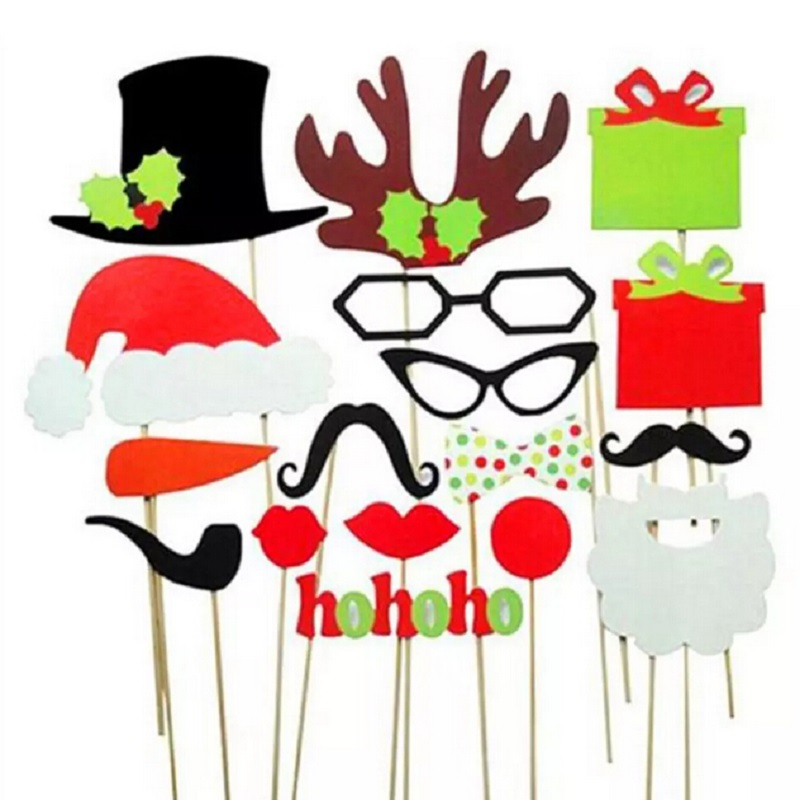 Photo Booth Props18Pcs/Set Christmas Decoration Supplies HotDIY Xmas Christmas Gift Party Event Favors Mask Mustache On A Stick(China (Mainland))