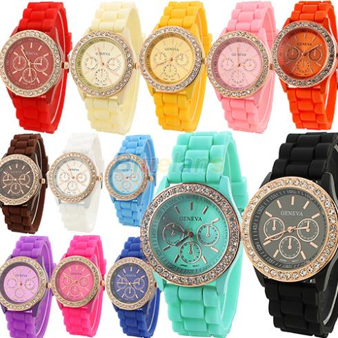 Geneva Silicone Golden Crystal Stone Quartz Ladies Women Girl Jelly Wrist Watch Candy Colors 1H98