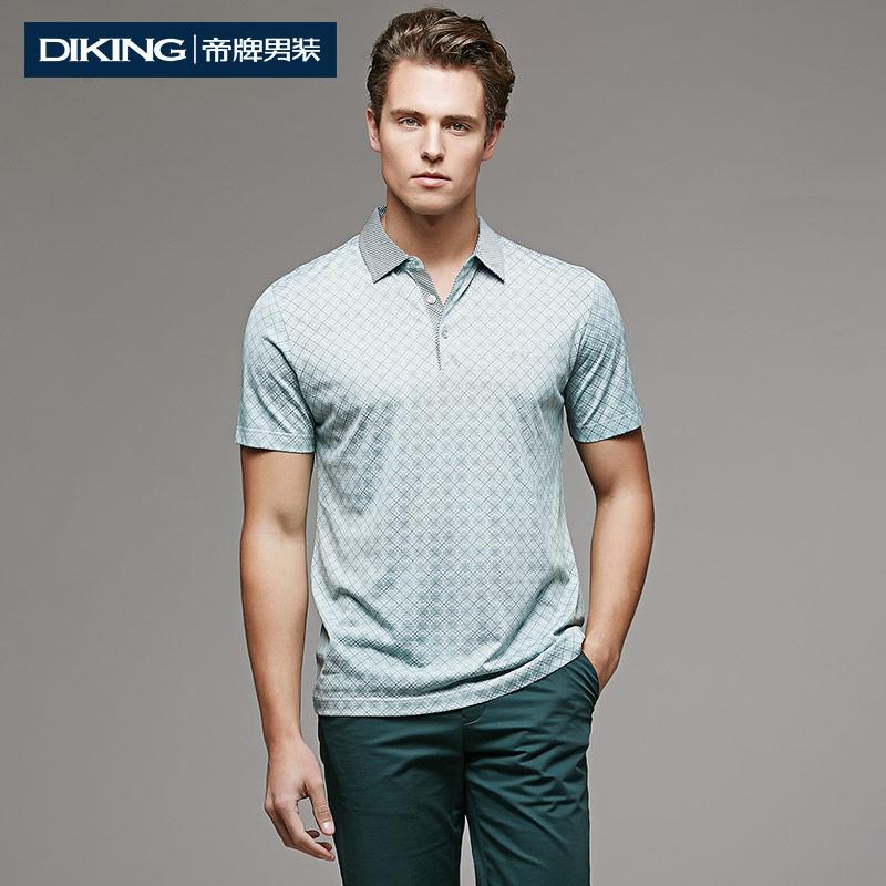 Brand 2015 Summer New Fashion Loose Men's Short Sleeve Turn-down Collar Geometric Printed Cotton&Silk Polo Shirt Men Casual Tops(China (Mainland))