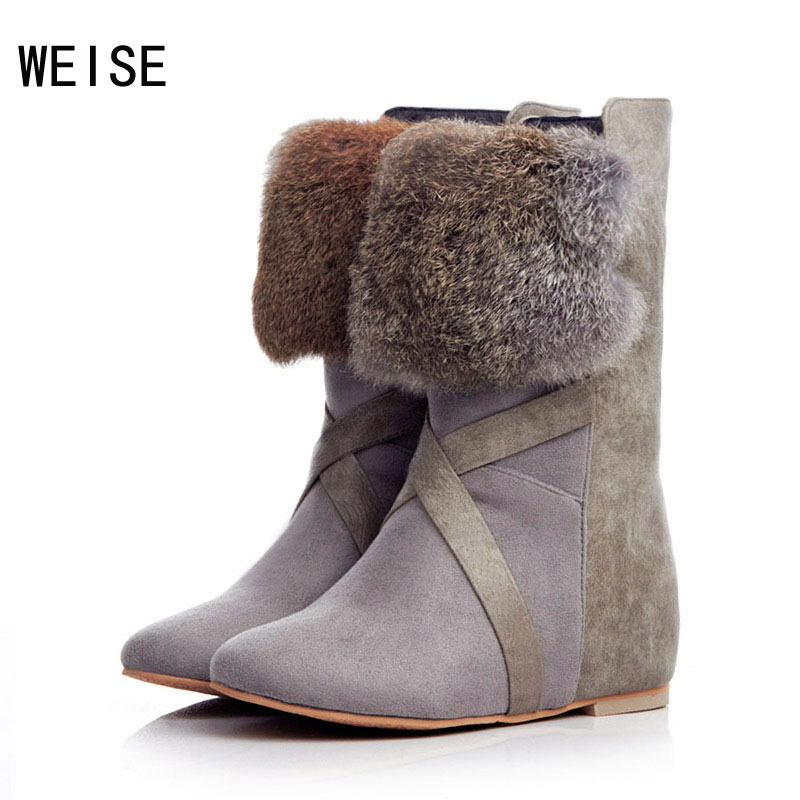 New Trade Shoes Matte Slope With Real Rabbit Fur Snow Boots In The Tube Within The Higher Women'S Boots Free Shipping(China (Mainland))