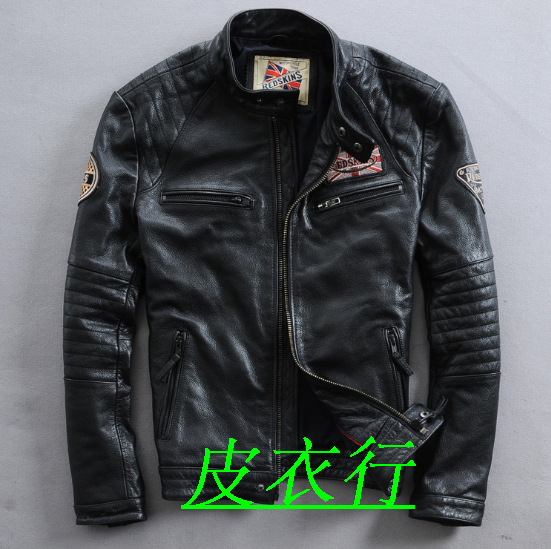 2015 British mens new head layer cowhide leather jacket collar Motorcycle Leather Leather Mens Leather JacketОдежда и ак�е��уары<br><br><br>Aliexpress