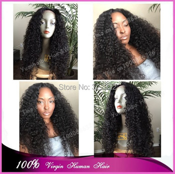 "Top 6a grade 22"" #1b kinky curly hair virgin mongolian real full lace wig for black women free shipping"