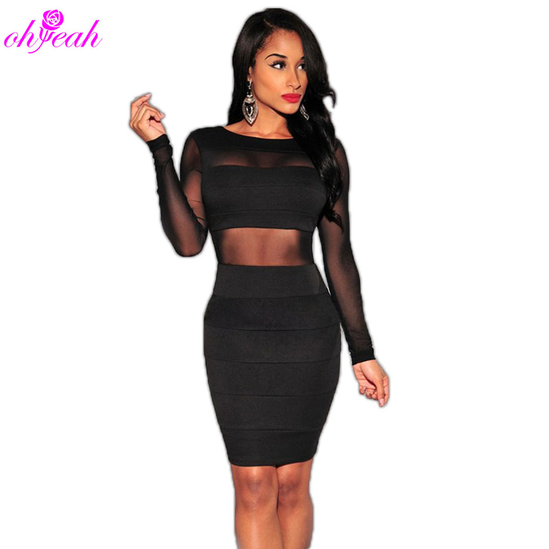 R80001 Hot sale Mesh patchwork dress Long Sleeve Sexy club dress 2015 Plus Size Black Bodycon dress Ohyeah New arrival Club wear(China (Mainland))