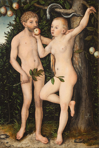 Canvas Art Prints Stretched Framed Giclee World Famous Artist Oil Painting Lucas Cranach Elder Adam Eve(China (Mainland))