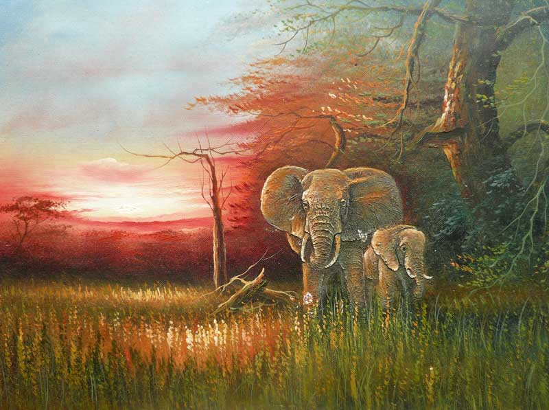 Hand Painted Landscape Oil painting On Canvas Elephant Home Decoration Wall Art Drop Shipping(China (Mainland))