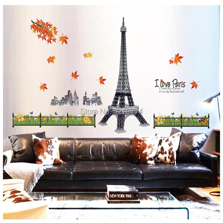 Diy Adesivo De Parede Cute 3d Wall Stickers Paris Background Decor Wall Stickers Bathroom