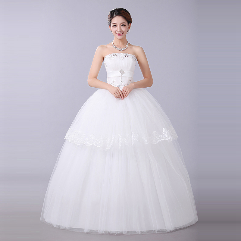 Bride Simple Wedding Dresses Plus Size 2014 White Princess