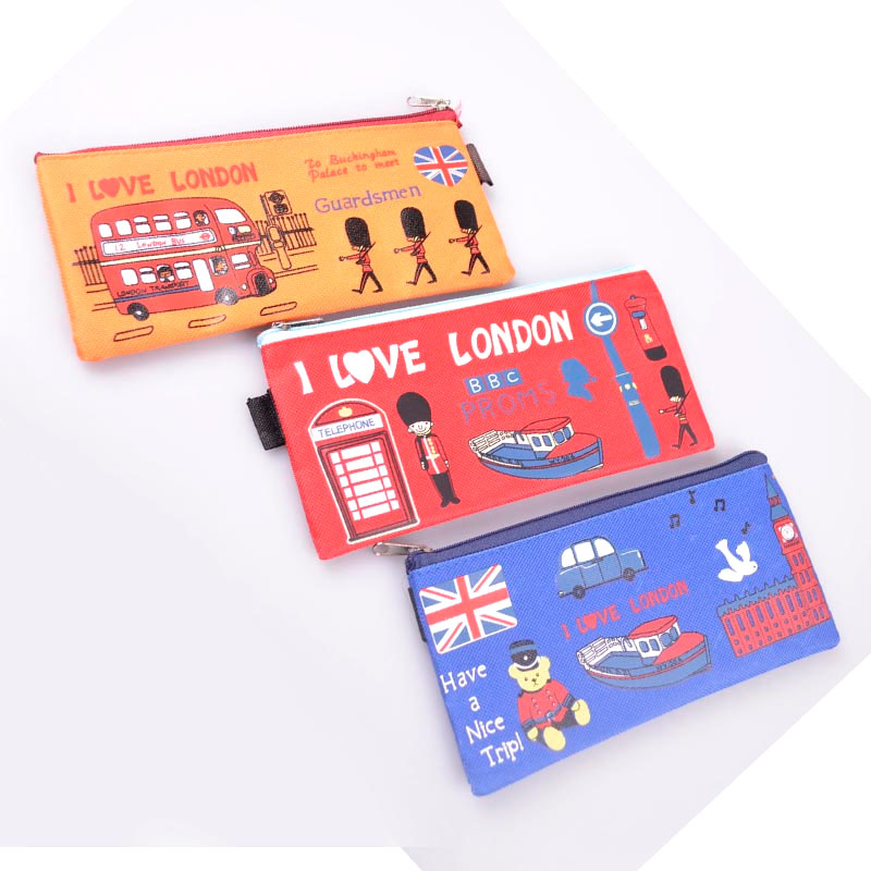 Novelty Nylon I Love London Canvas Pencil Case Students Pen Bag Kids Gifs School Products Stationery Supplies Material Escolar(China (Mainland))