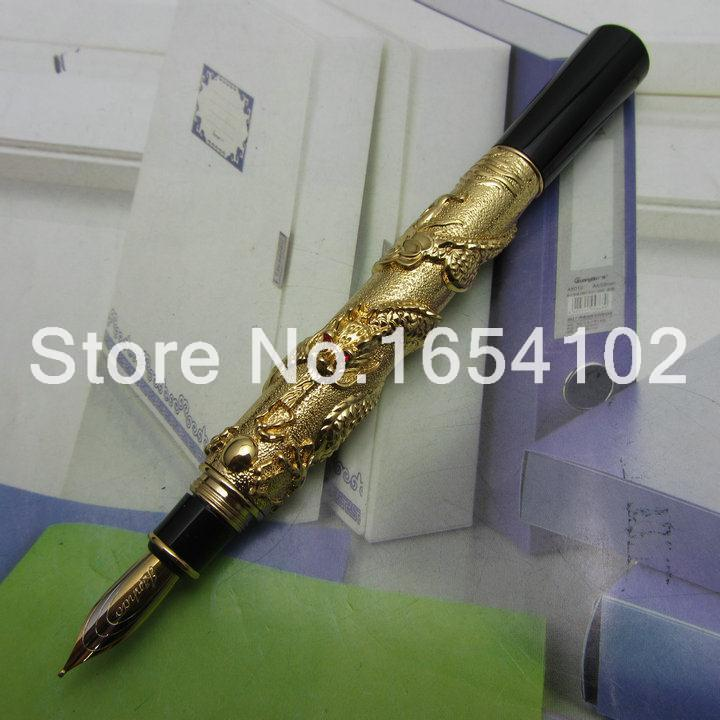 Advanced Fountain Pen Jinhao Chinese Dragon gold Heavy Gift Pen with Original Gift Box J1173