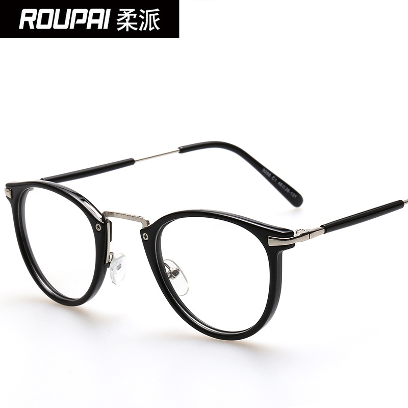 2015 small clear retro round glasses with a flat mirror light spot and glasses wholesale 8107(China (Mainland))