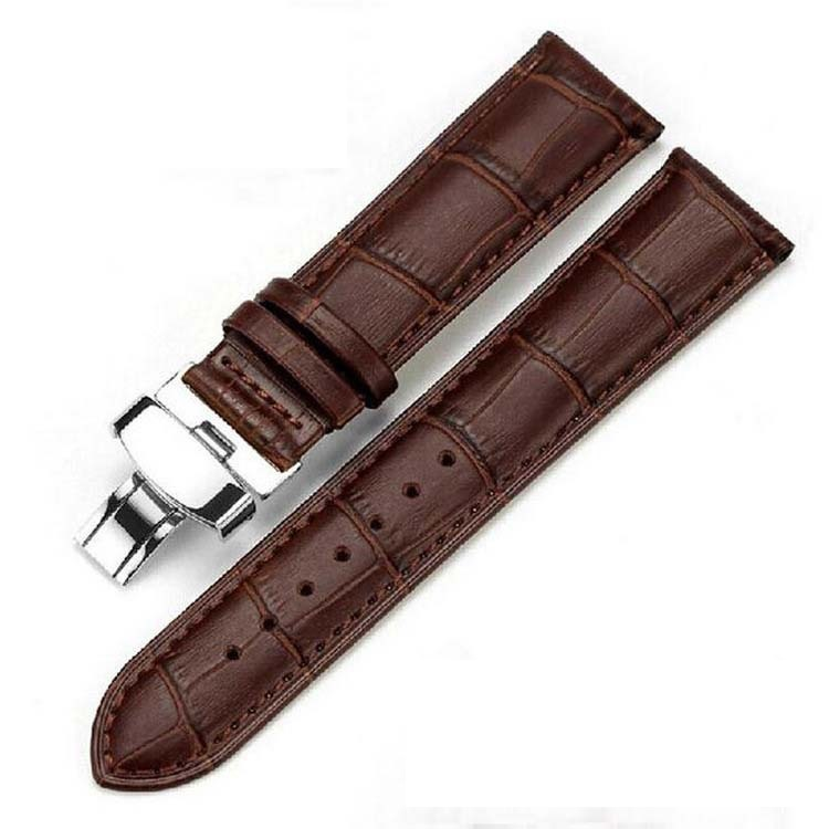20 22mm Men Brown Black Leather Butterfly buckle Strap Belt Watchband for Dress Wristwatch <br><br>Aliexpress