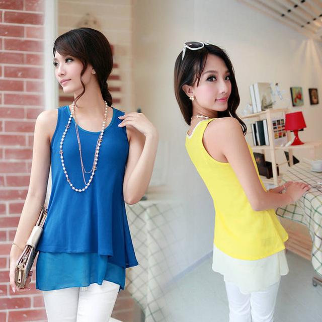 2013 fashion chiffon small vest all-match female loose sleeveless plus size spaghetti strap chiffon shirt female