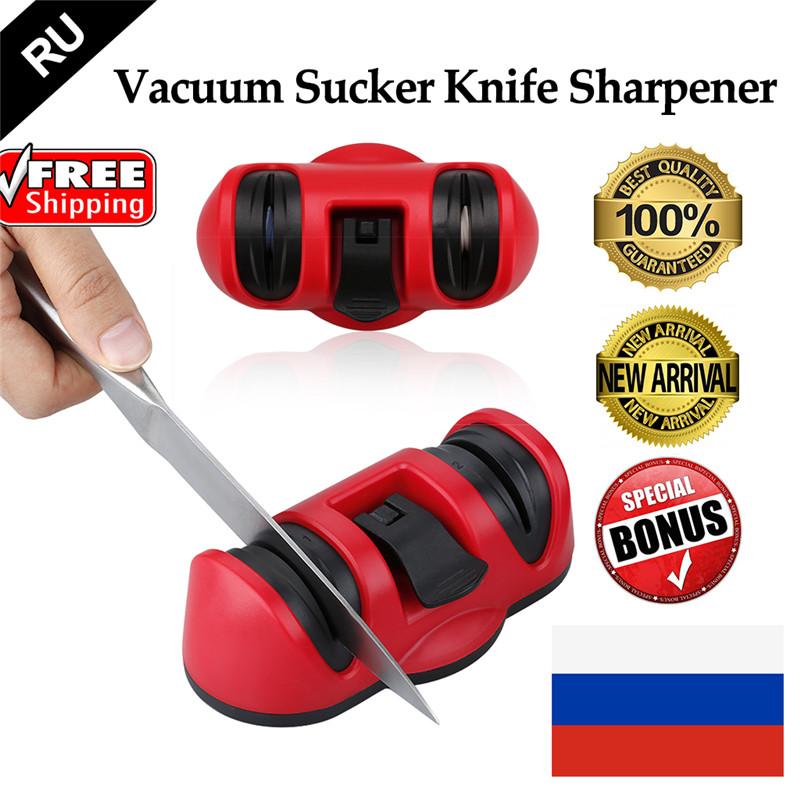 Two Stages Knife Sharpener Vacuum Sucker Anti-slip Ceramics Abrasive Wheel Sharpening Stone Kitchen Knives Tool(China (Mainland))