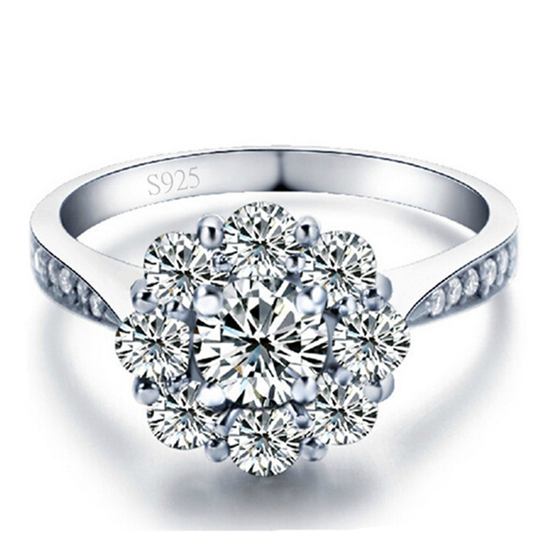 Wedding Engagement Ring For Women Flower Shape White Gold Plated AAA