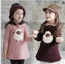 2015 new winter children clothing Korean plush lamb fleece sweatshirt baby girls tops cartoon thick hooded sweater kids hoodies(China (Mainland))