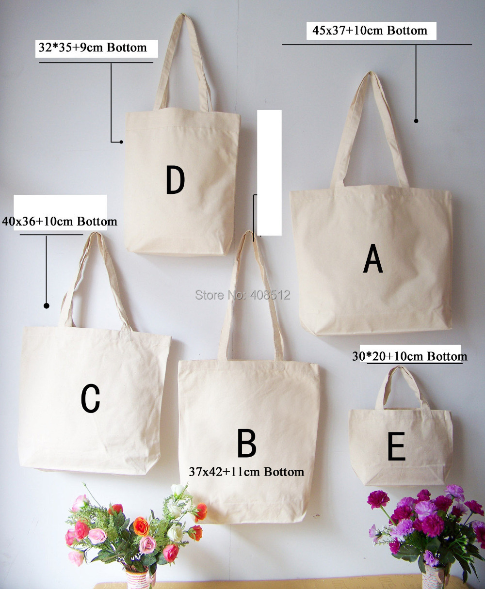 DIY white blank eco friendly cotton canvas shopping bag with bottom(China (Mainland))