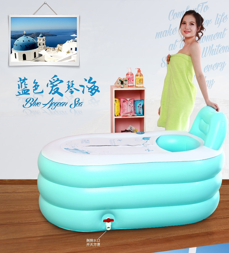 Adult inflatable bathtub bath bucket swimming pool for Garden pool from bathtub