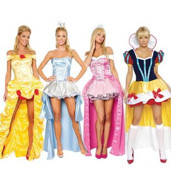 Хэллоуин костюмы для женщин взрослых золушка платье принцесса белль костюм женский снег белый костюм сказка цельный платье