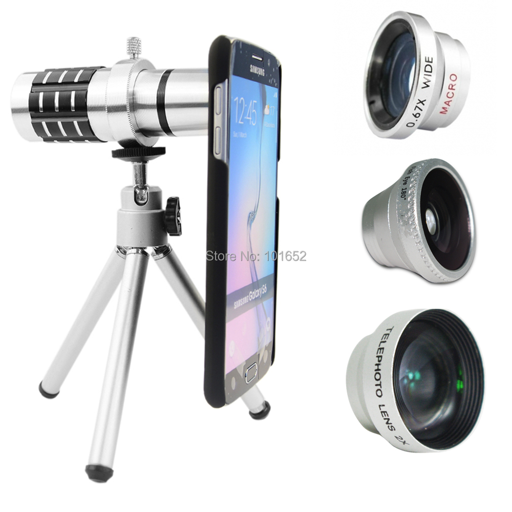 5 in1 Lens 12X Telescope Lens +2X Telephoto + Wide Angle + Fish Eye Lens + Macro lens+Tripod for Samsung galaxy S5 Free shipping