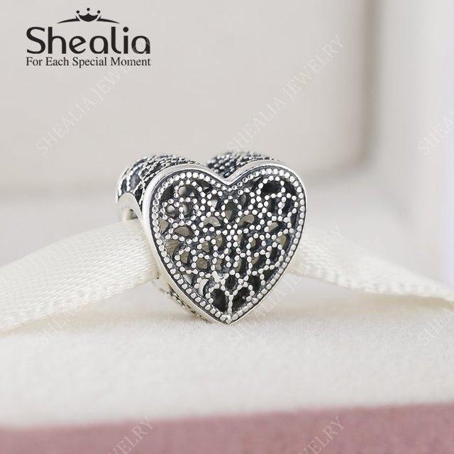 Shealia стерлингового серебра 925 заполненный любовь ажурный шарма сердца бусины 2016 день святого валентина подарок ювелирных украшений для женщин браслет DIY