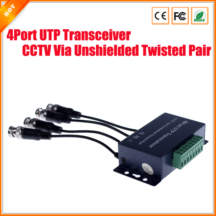 CCTV 4 Channel Passive Video BNC Female to UTP Camera DVR Balun 4Port UTP Transceiver CCTV Via Unshielded Twisted Pair(China (Mainland))