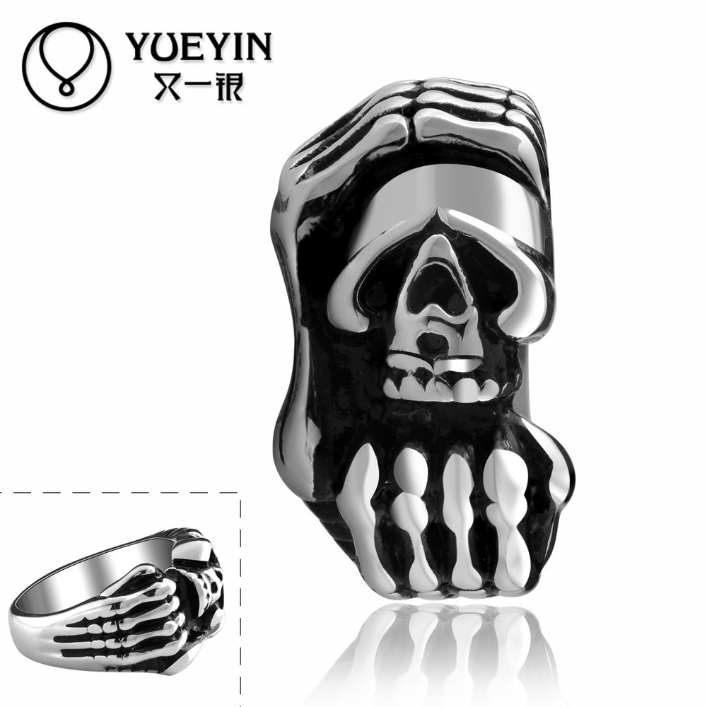 Skull head rings Halloween Costume 316L stainless steel punk ring for men unisex jewelry Original designs Free Shipping(China (Mainland))