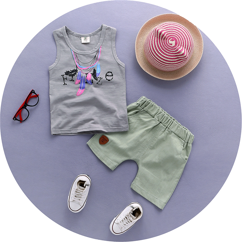 2016 Hip Hop Boys Vests Sleeveless Shirts+100%Cotton Shorts Summer Soft Cool Baby Clothes Suits Fashion Print Children Sets(China (Mainland))