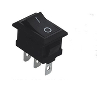 10pcs/lot 3 Pin 6A 250V Black Button Rocker Switch On - On Import Rocker Power Switches(China (Mainland))