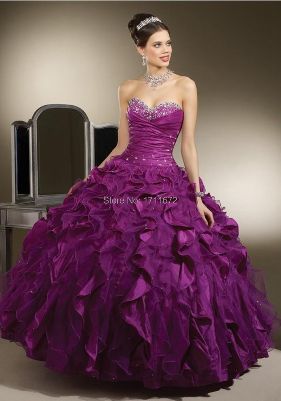 Длинные Длиной до пола Бальное платье Красочные Фиолетовый Принцесса Бисероплетение Милая С Плеча Без Рукавов Из Органзы Quinceanera Платья